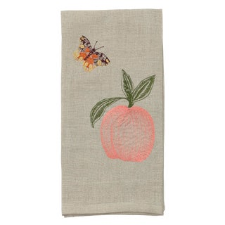 Cottage Peach & Butterflies Tea Towel For Sale