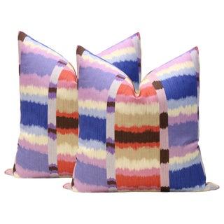 "22"" Calypso Madras Linen Print Pillows - A Pair For Sale"