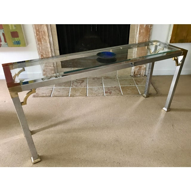 Mid Century Chrome and Glass Console / Sofa Table - Image 3 of 11