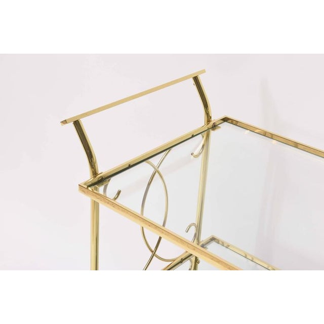 Mid-Century Italian Brass Bar Cart For Sale - Image 4 of 10