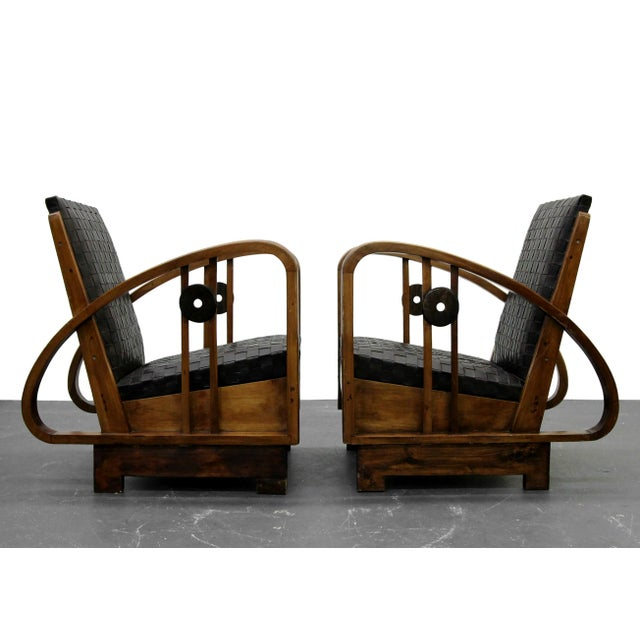 Art Deco Pair of Antique French Art Deco Bentwood Lounge Chairs with Woven Leather For Sale - Image 3 of 8