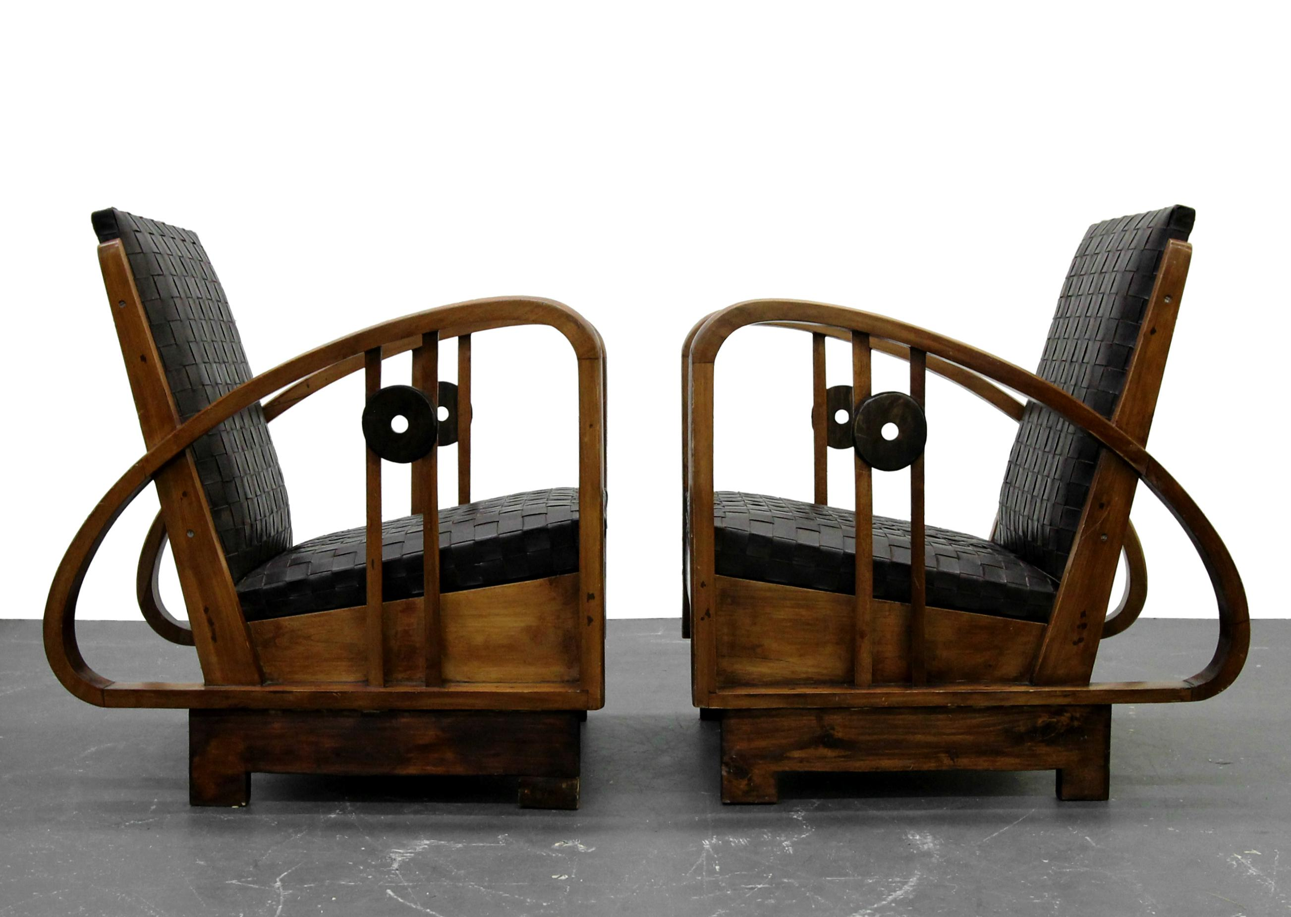 Art Deco Pair Of Antique French Art Deco Bentwood Lounge Chairs With Woven  Leather For Sale