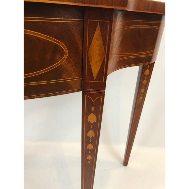American Serpentine Flame Mahogany and Inlaid Console Table For Sale - Image 3 of 10