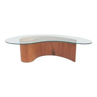 1960s Mid-Century Modern Vladimir Kagan for Selig Biomorphic Walnut Comma Apostrophe Coffee Table For Sale