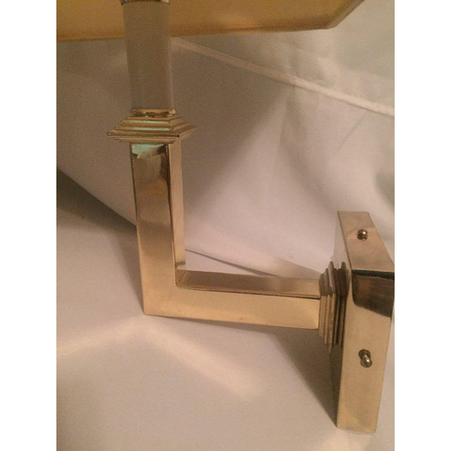 1970s Vintage Modern Square Arm Wall Lamps Heavy Brass in the Style of Karl Springer - a Pair For Sale - Image 5 of 12