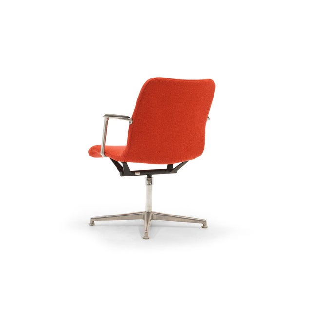 Herman Miller George Nelson Desk or Office Chair, Very Rare, New Red Boucle Knoll Upholstery For Sale - Image 4 of 8