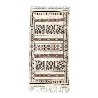 Hand-Loomed Berber Tribal Natural Wool Throw Rug, Neutral Beige For Sale