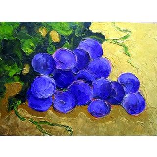 Garden Arbor Purple Grapes Fruit Still Life Oil Painting For Sale
