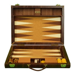 1960s Vintage Brooks Brothers Backgammon Board Set W/ 30 Crisloid Bakelite Chips!~ For Sale