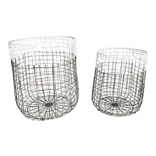House Doctor Round Metal Mesh Baskets - a Pair