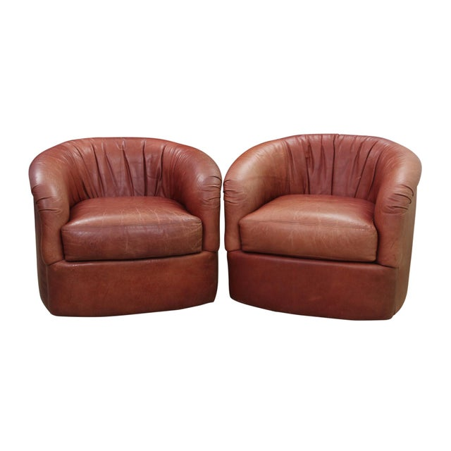 Leather Leather Swivel Club Chairs - a Pair For Sale - Image 7 of 7