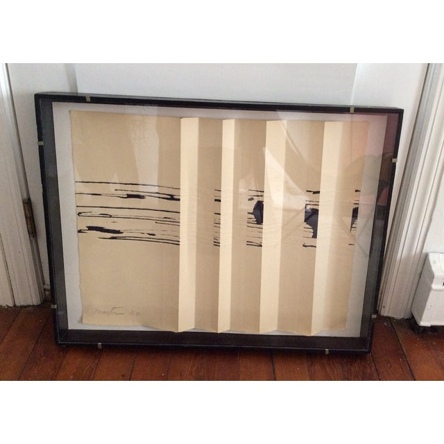 Mid Century Abstract Signed Print Shadow Box - Image 3 of 3