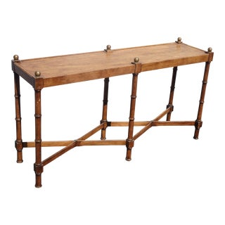 Vintage French Country Brown Sofa Table by Brandt W Round Finials For Sale