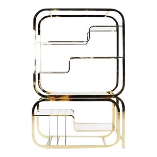 Milo Baughman Brass and Glass Adjustable Width Etagere, Excellent For Sale