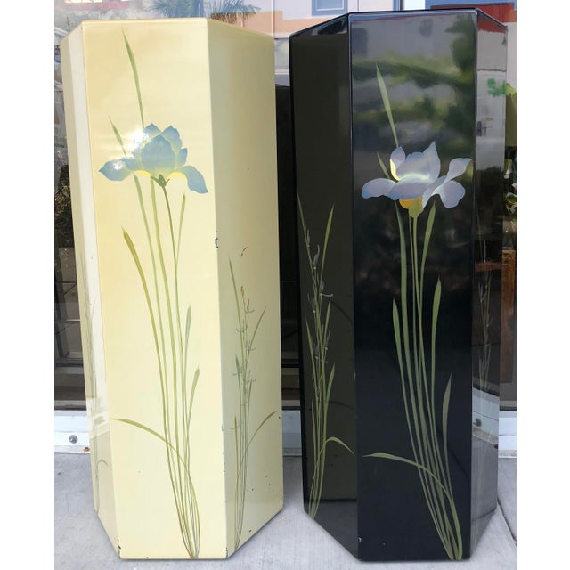 Oriental Hand Painted Pedestals - A Pair For Sale - Image 9 of 9