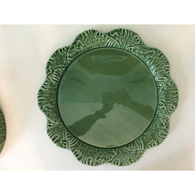 Ceramic Large - Majolica Cabbage Leaf Food Dome & Platter-Made in Portugal For Sale - Image 7 of 13