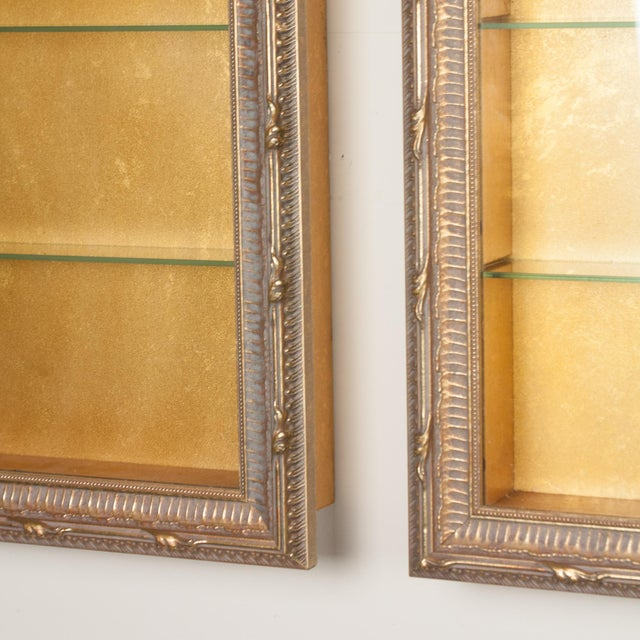 Wall-Mounted Giltwood Vitrines - Pair For Sale - Image 9 of 9