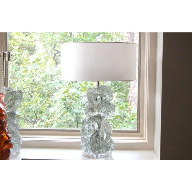 Glass Rock Table Lamps by Swank Lighting Clear Ice- A Pair For Sale - Image 9 of 9