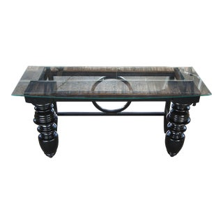 20th Century Black Turned Writing Desk or Library Console Table For Sale