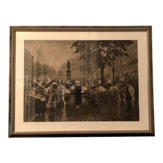 Vintage Print of a Street Market in Prague For Sale