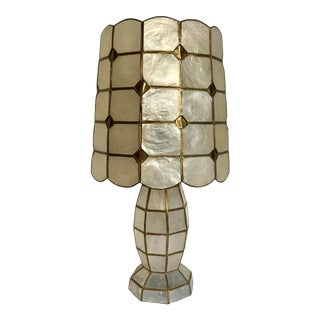 Mid Century Capiz Shell Table Lamp For Sale