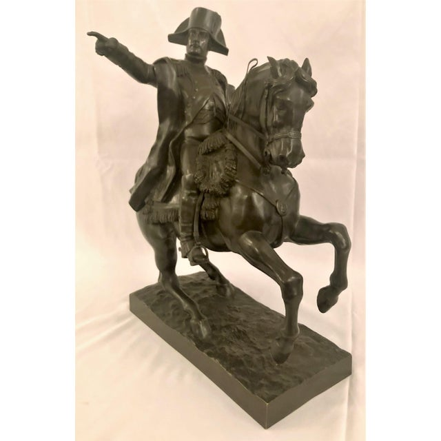 Empire Antique 19th Century French Bronze Statue of Napoleon on Horseback Signed by Noted Sculptor, Alexandre Falguiere (1831-1900). For Sale - Image 3 of 6