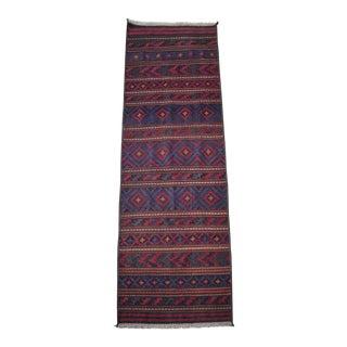 1990s Tribal Afghan Handwoven Brick Red and Navy Wool Kilim Runner