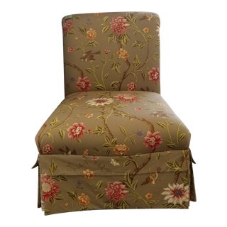 Floral Pattern Upholstery Accent Slipper Chairs