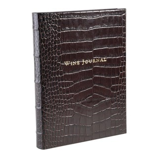 Wine Journal Tabbed, Embossed Croc Leather in Brown For Sale