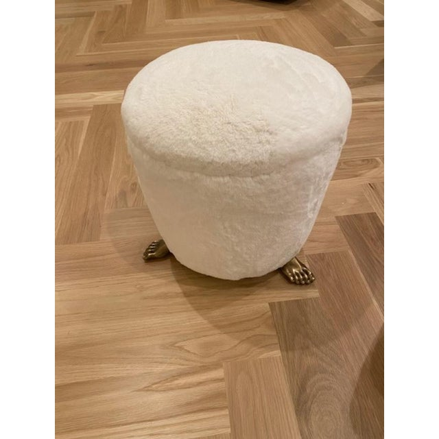 Off White Solid Brass Footstool For Sale In Los Angeles - Image 6 of 6