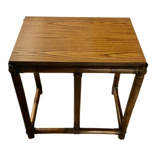 1970s McGuire Tall Side Table For Sale