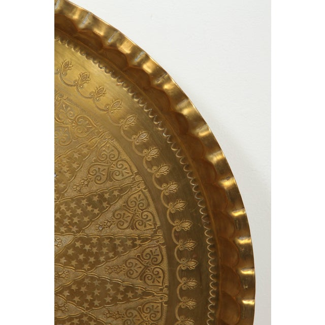 Gold Large Syrian Hand-Hammered Brass Tray For Sale - Image 8 of 10