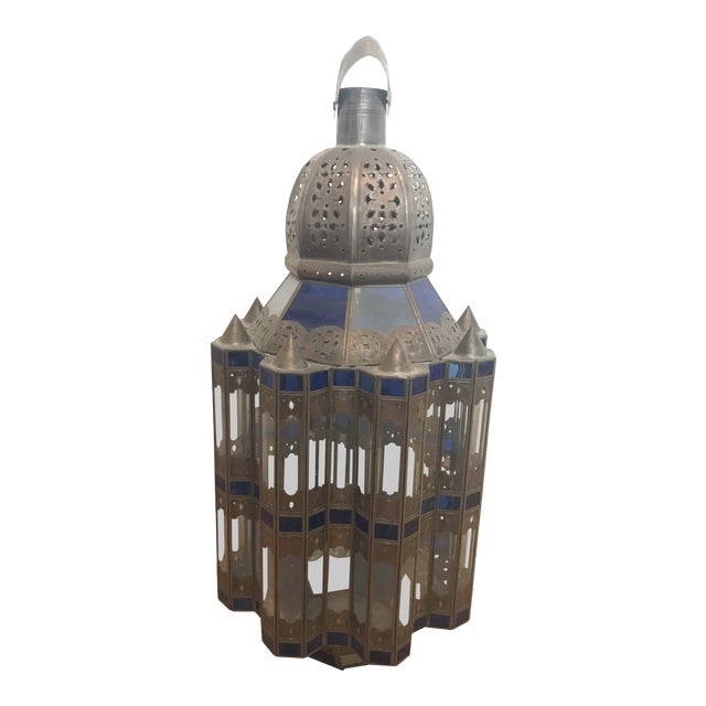 1960s Moroccan Brass and Cerulean Glass Lantern For Sale
