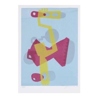 Jane Mitchell Abstracted Figure in Blue, Yellow, and Pink, Serigraph on Paper, 1972 1972 For Sale