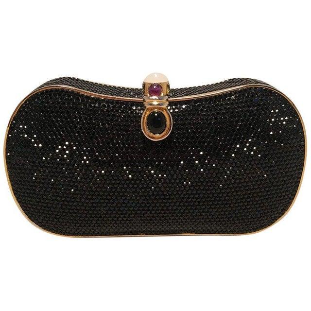 Judith Leiber Black Swarovski Crystal Minaudiere Evening Bag Clutch For Sale - Image 9 of 9
