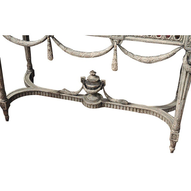 Gray 19th Century Louis XVI Carved Painted Faux Marble Top Consoles - a Pair For Sale - Image 8 of 9