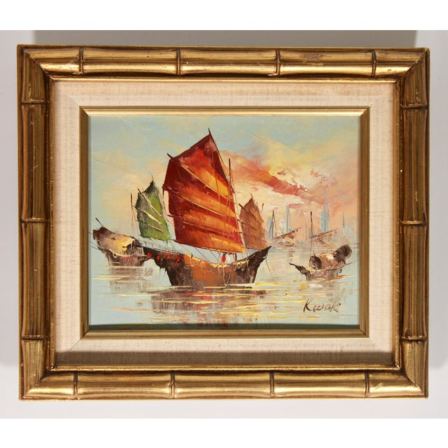 Vintage Coastal Nautical Sailboat Oil Painting For Sale - Image 11 of 11