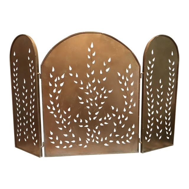 Vintage Mid-Century Modern Metal Arched Gold Fireplace Screen For Sale