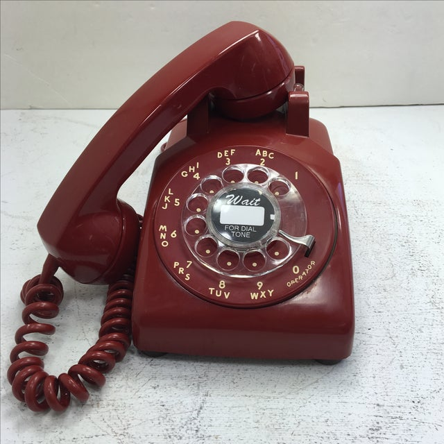 Western Electric Red Rotary Dial Telephone For Sale - Image 9 of 11