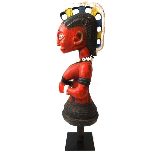 Red African Baule Ivory Coast Spirit Maiden Sculpture For Sale - Image 8 of 10