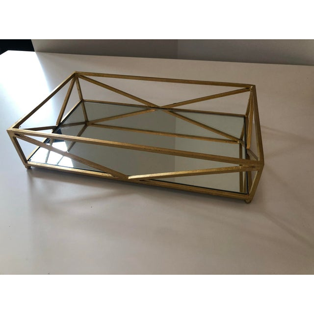 Contemporary Iron Tray With Inset Mirror in Golf Leaf For Sale In Atlanta - Image 6 of 9