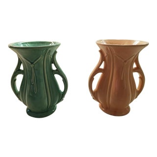 """1940s Mid-Century Modern McCoy Art Pottery Coral Pink Green Glaze Double Handle 8"""" Vases - a Pair For Sale"""
