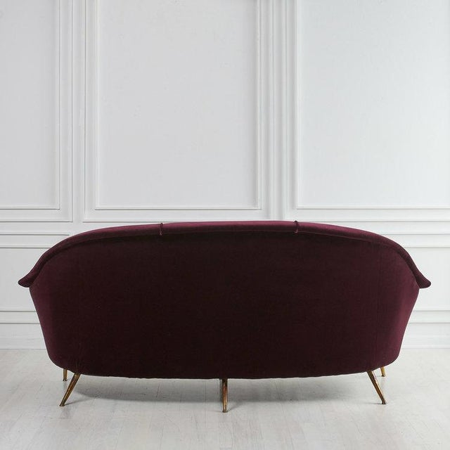 Italian 1960's Curved Loveseat Sofa For Sale In Chicago - Image 6 of 7