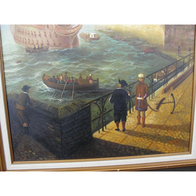 """""""Merchant Ship in Port"""" Painting - Image 5 of 10"""