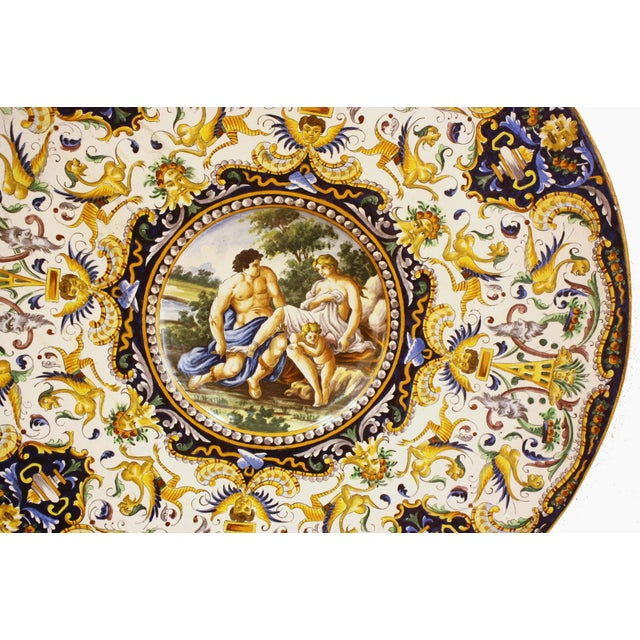 Two Large Renaissance Style Hand Painted Faience Chargers - Image 6 of 7