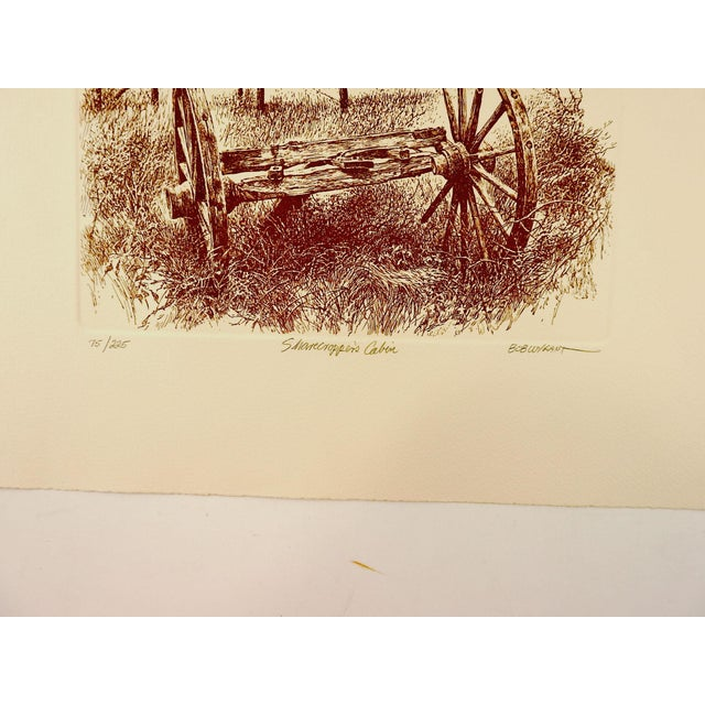 Etching on cream heavy paper by Bob Wygant (1927-2008) Texas. Signed, titled Sharcropper's Cabin, numbered 75/225....