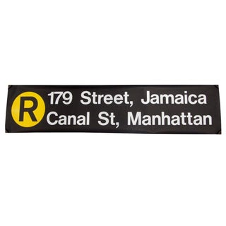 "1980s New York ""R"" Train Subway Sign"