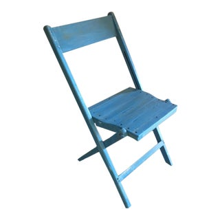 Blue Painted 1940's Snyder Wooden Folding Chairs For Sale