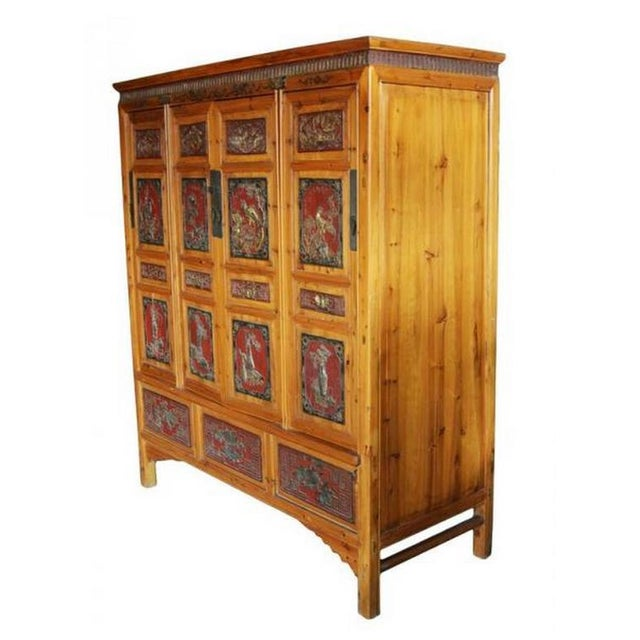 19th Century Antique Chinese Wide and Large Hand-Carved Gilt Wooden Cabinet For Sale - Image 4 of 11