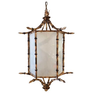 Large Metal Faux Bamboo Lantern For Sale